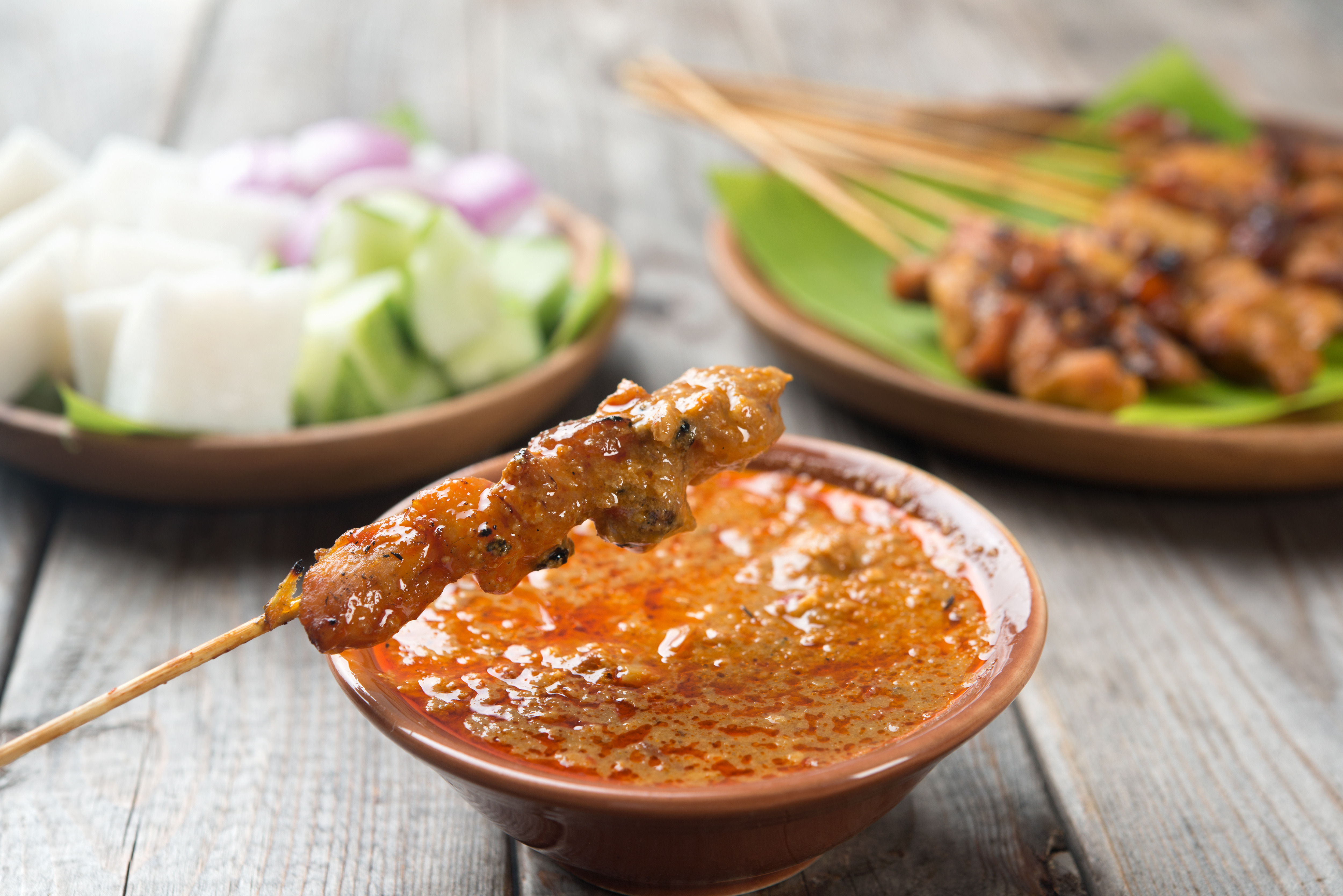 Delicious chicken satay and dipping sauce