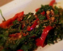 Wilted Spinach with Red Bell Peppers