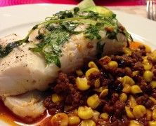 Halibut, corn and chorizo grill packets