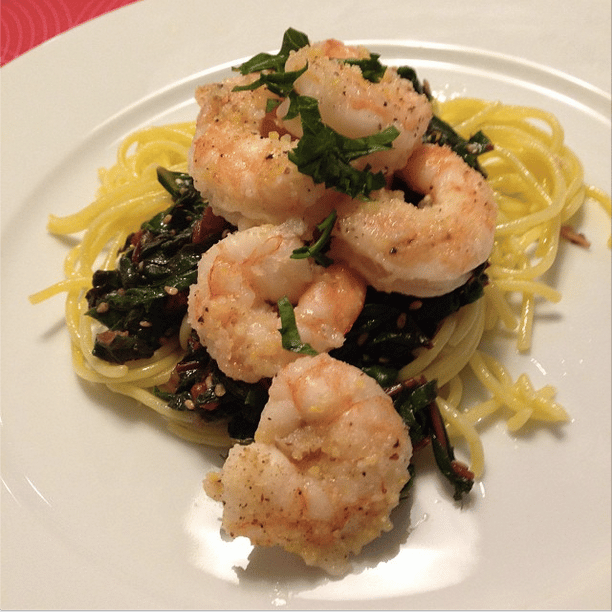 Garlic shrimp and rainbow chard over quinoa pasta